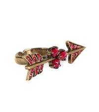 Valentino Arrow Crystal Embellished Ring Pink