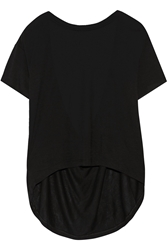 Oak Open Back Cotton Jersey T Shirt Black
