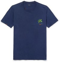 Altea Embroidered Cotton Jersey T Shirt Navy