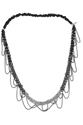 Maje Chain And Silk Headband Metallic