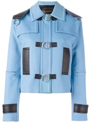 Versace Leather Trim Jacket Blue