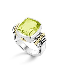 Lagos 18K Yellow Gold And Sterling Silver Caviar Color Ring With Green Quartz Green Silver
