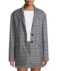 Tibi Lucas Plaid Suiting Oversized Single Breasted Blazer Black