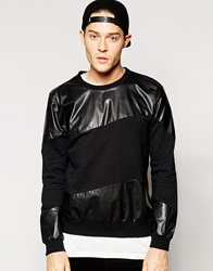 Standard Issue Exclusive Sweatshirt With Faux Leather Panel Black