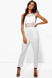 Boohoo Bryony Crochet Jumpsuit White