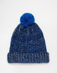 Asos Bobble Beanie In Blue Multi Twist