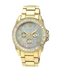 Vince Camuto Ladies Goldtone And Swarovski Crystal Baguette Bracelet Watch