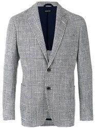 Giorgio Armani Plaid Blazer Men Cotton Acrylic Polyamide Virgin Wool 48 White