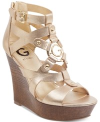 G By Guess Dodge Platform Wedge Sandals Women's Shoes Gold