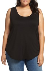 Three Dots Plus Size Women's Long Tank Black