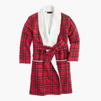 J.Crew Sherpa Lined Tartan Robe In Classic Tartan Flannel Red Black Multi