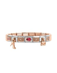 Nomination Classic Couture And Charms Rose Gold And Stainless Steel Bracelet W Cubic Zirconia Silver