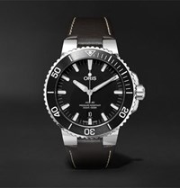 Oris Aquis 43Mm Stainless Steel And Leather Watch Brown