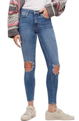 Free People Women's High Rise Busted Knee Skinny Jeans Light Denim