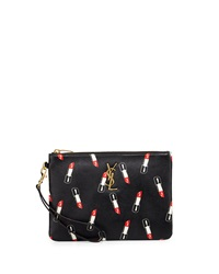 Saint Laurent Monogram Lipstick Print Leather Pouch Black Black Red White