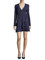 Lea And Viola Fringed Wrap Dress Navy