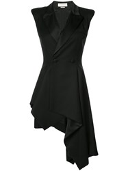 Monse Sleeveless Draped Tuxedo Jacket Women Silk Nylon Spandex Elastane Wool 4 Black