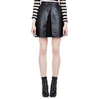 Saint Laurent Women's Leather And Lace Pleated Skirt Black Blue Black Blue