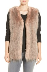 Via Spiga Women's Collarless Faux Fur Vest Pink Multi