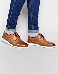 River Island Leather Derby Shoes With Wedge Sole In Tan