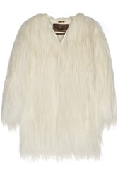 Roberto Cavalli Oversized Leather Trimmed Goat Hair Coat White