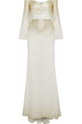 Badgley Mischka Off The Shoulder Coated Metallic Lace Gown Ivory