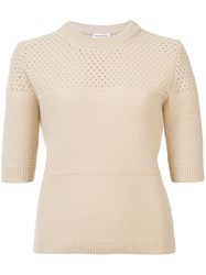 Sonia Rykiel Round Neck Knitted T Shirt Brown