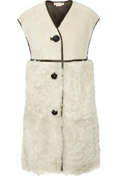 Marni Oversized Leather Trimmed Shearling Gilet
