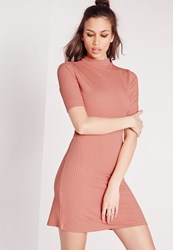 Missguided Short Sleeve High Neck Rib Skater Dress Pink Red