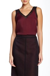 Anne Klein Mesh Contrast Trim Tank Red
