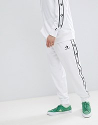 Converse Joggers With Taped Side Stripes In White 10007592 A04