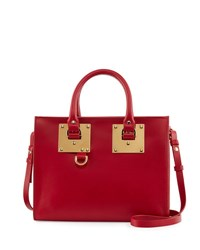Sophie Hulme Medium Leather Box Tote Bag Cherry