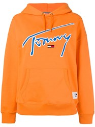 Tommy Jeans Logo Hoodie Yellow And Orange