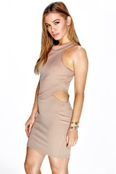 Boohoo Ruby Cut Out High Neck Bodycon Dress Sand