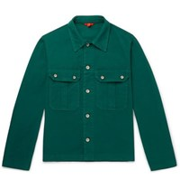 Barena Stretch Cotton Twill Overshirt Green