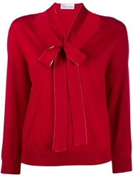 Red Valentino Pussy Bow Knitted Sweater Red