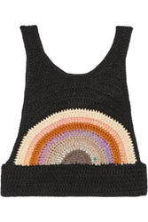 Anna Sui Cropped Crocheted Top Black