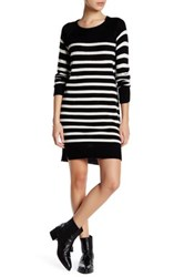 Cupcakes And Cashmere Long Sleeve Striped Knit Sweater Dress Black