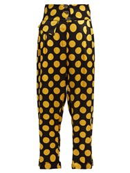 Duro Olowu Large Polka Dot Print Silk Satin Cropped Trousers Black Yellow