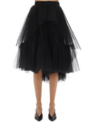 Brognano Ruffled Tulle Midi Skirt Black