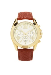 Forever 21 Faux Leather Chronograph Watch Brown Gold