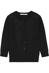 Diane Von Furstenberg Cooper Corded Lace Paneled Stretch Knit Cardigan Black