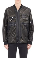 Alexander Wang Leather Utility Bomber Jacket Black Size 44 Eu