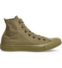 Converse High Top Canvas Trainers Military Olive Mono