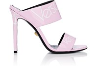 Versace Logo Print Patent Leather Mules Pink