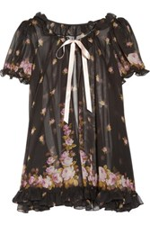 Agent Provocateur Syble Ruffled Floral Print Silk Chiffon Robe Black
