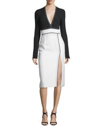 J. Mendel Long Sleeve V Neck Combo Dress Lilly White Noir Lilly White