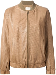 Forte Forte Perforated Bomber Jacket Nude And Neutrals