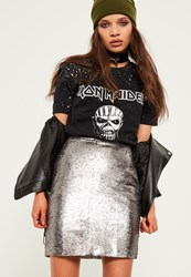 Missguided Silver All Over Sequin Skirt