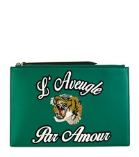 Gucci Embroidered Tiger Pouch Female Green